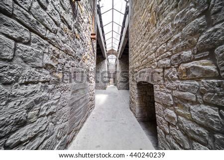 old Castle passageway - stock photo
