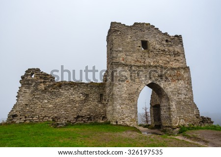 old castle ruin in a mist - stock photo