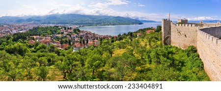 Old castle ruins in Ohrid, Macedonia - stock photo