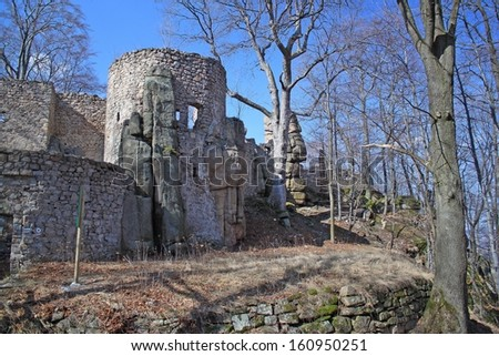 Old castle ruins in Poland - stock photo