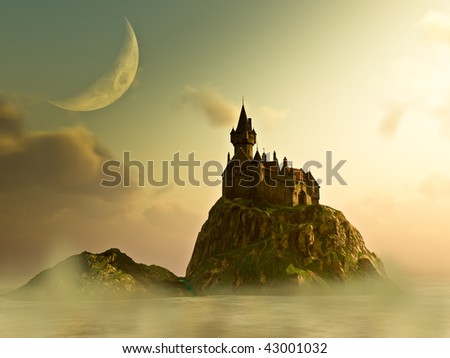 Old Castle sits on a island  at hazy sunrise,sunset under a Crescent Moon. Fog and mist rolls across the water  Illustration