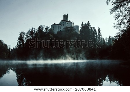 Old castle Trakoscan, Croatia, dark mystic atmosphere - stock photo