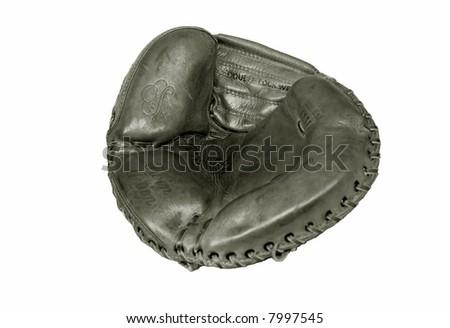 old catchers mitt - stock photo