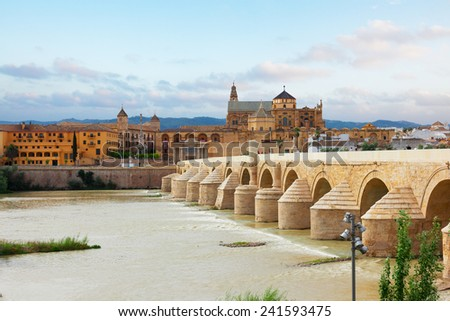 old cathedral and roman bridge with Guadalquivir river, Cordoba, Andalusia, Spain - stock photo