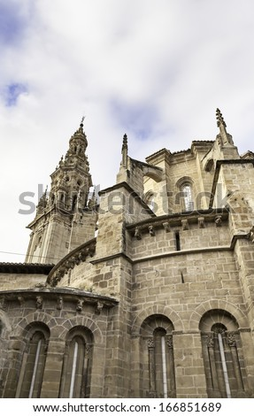 Old Cathedral in Spain, detail of historic religious building, art and antiquity - stock photo