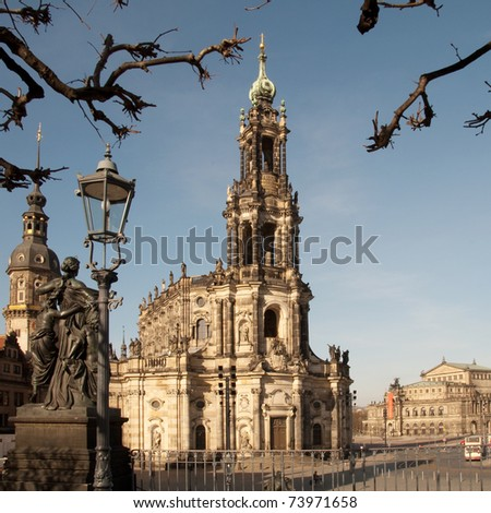 Old cathedral in the city of Dresden in germany - stock photo