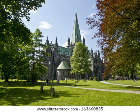 Old cathedral in Trondheim, Norway,,   - stock photo
