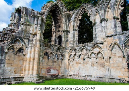 Old cathedral wall in city of York, United Kingdom - stock photo