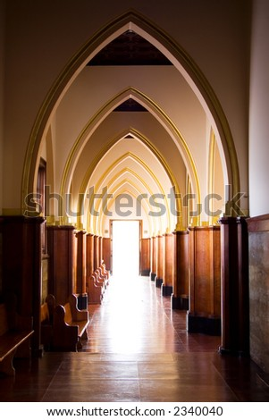Old catholic church at Bogota, Colombia. Arches, Light - stock photo