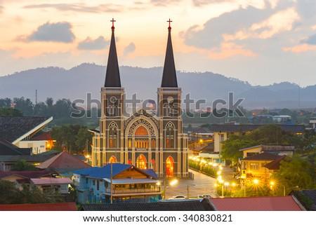 Old Catholic Church with a beautiful sunrise in Chantaburi province, Thailand. - stock photo