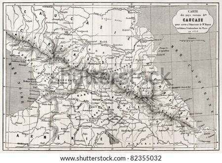 Old Caucasus map. Created by Villemin, Erhard and Bonaparte, published on Le Tour du Monde, Paris, 1860 - stock photo