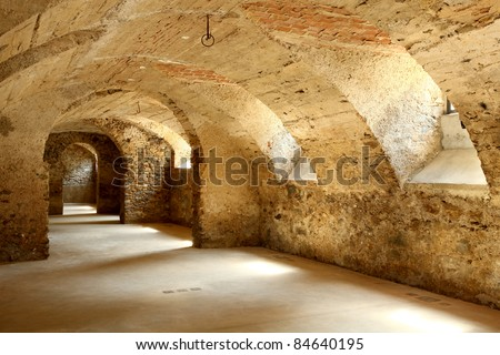 old cave in historic building - stock photo