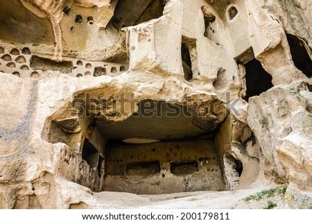 Old cave monastery Cavusin, Cappadocia, Turkey  - stock photo