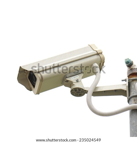 Old, CCTV security camera on white background - stock photo