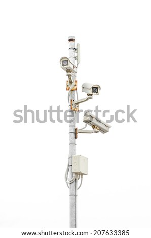 Old CCTV security cameras on white background