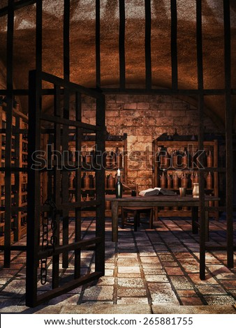 Old cellar with wine bottles, table and shelves - stock photo