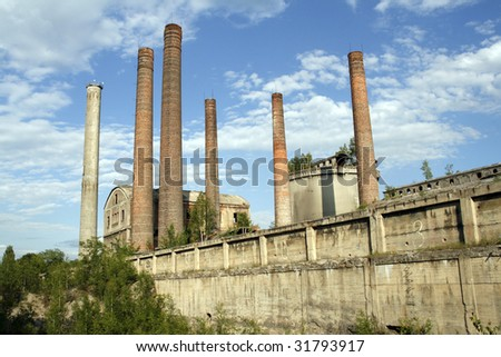 Old cement plant in Bedzin - town in Upper Silesia - industrial discrict of Poland