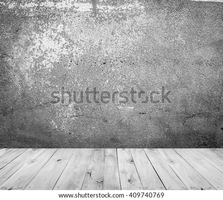 old cement with wooden floor