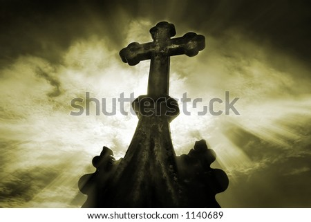 Old cemetery crucifix - stock photo