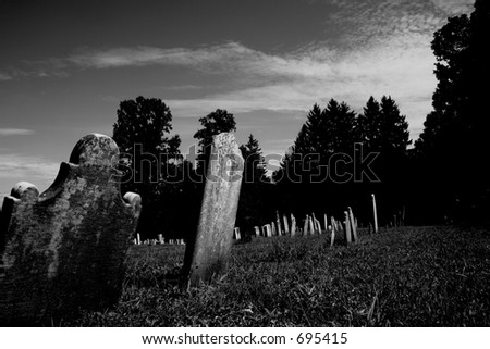 Old Cemetery in Black & White - stock photo