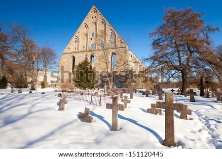 Old cemetery of St. Brigitta convent in Pirita region, Tallinn, Estonia - stock photo