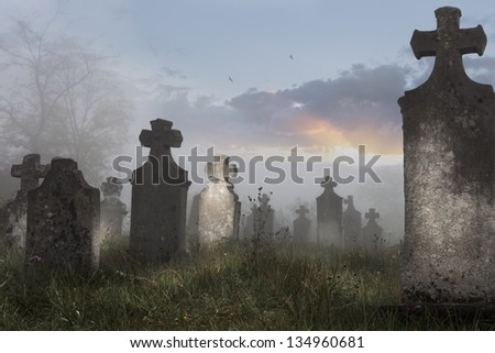 Old cemetery on a foggy morning, - stock photo