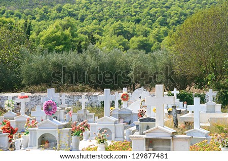 Old cemetery on the island of Zakynthos, Greece - stock photo