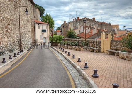 Old center of Cannes city, France. - stock photo
