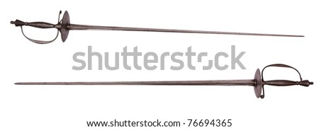 Old 18 century rapiers, isolated on background - stock photo