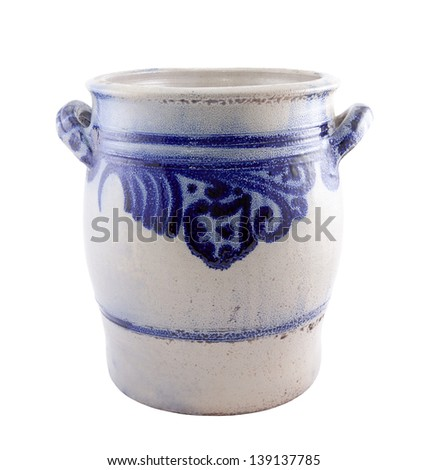 Old ceramic jug isolated on white with clipping path