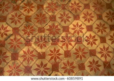 Old ceramic tiles, pattern and texture - stock photo