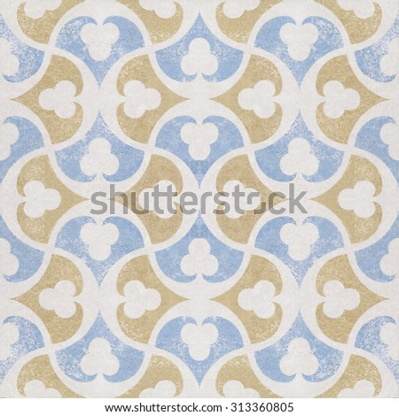 Old ceramic tiles patterns background in the park public - stock photo