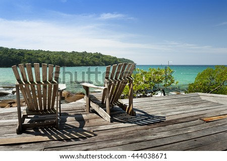 Old chair for looking sea - stock photo