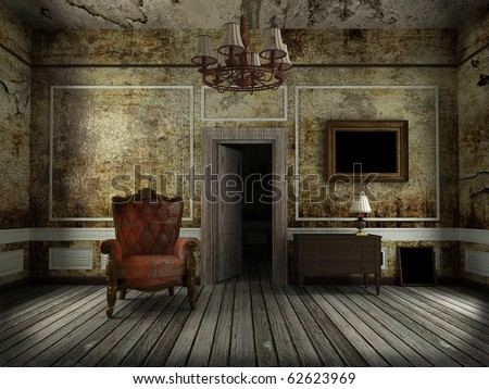 old chair in the old room - stock photo