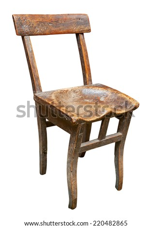Old chair isolated. Clipping path included. - stock photo