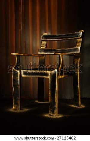 Old chair painted with light - stock photo
