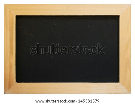 Old chalk board with wood frame isolated on white background