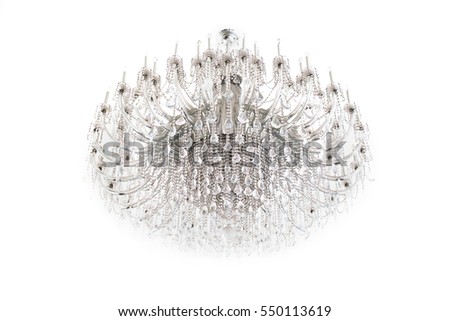 Old chandelier lamp on white background. Shallow depth of field.