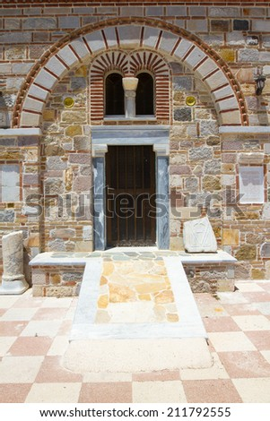 Old chapel facade near Antimachia, Kos, Greece - stock photo