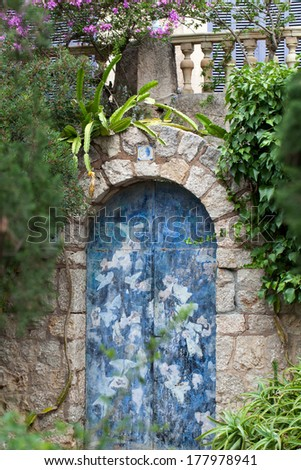 Old charming street in spanish village Valldemossa, Mallorca  - stock photo