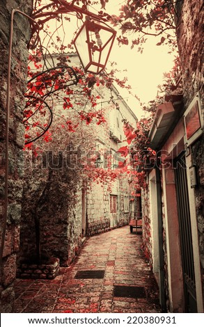 Old charming street/ Old town in Europe  with retro vintage effect - stock photo