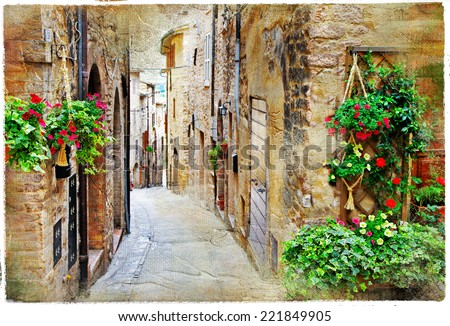 old charming streets of medieval towns, Spello ,Italy. artistic  picture - stock photo