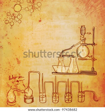 Old chemistry laboratory background - stock photo