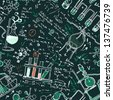 Old chemistry laboratory seamless pattern on dark green school board. Vector background. A raster illustration. - stock photo