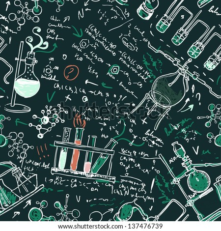 Old chemistry laboratory seamless pattern on dark green school board. Vector background. A raster illustration. - stock photo
