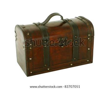 old chest isolated on white background