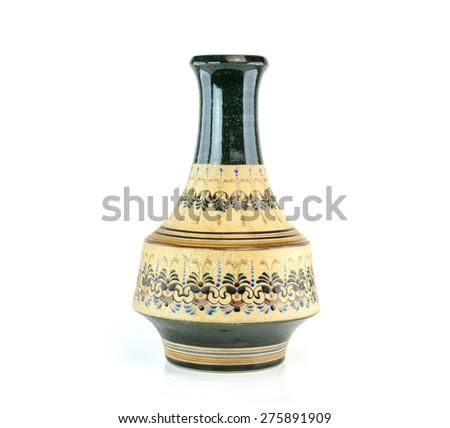 Old chinese antique vase on the white background - stock photo