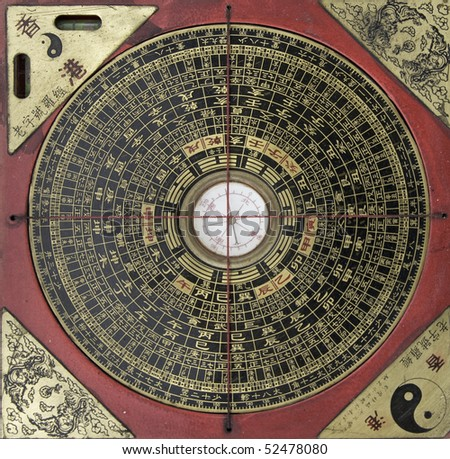 old chinese compass - stock photo