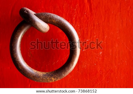Old chinese door. closeup Useful as background for design-works. - stock photo