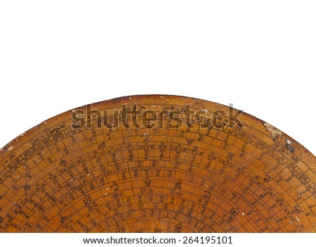 Old Chinese Feng Shui compass plate - stock photo